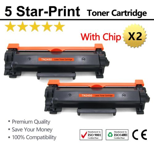 2 TN-2450 with Chips Toner for Brother MFC-L2710/2713/2750/2350DW HL-2350/2375DW