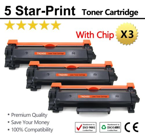 3X Toner TN2450 with Chips for Brother HLL-2350DW HLL2375DW HLL2395DW MFCL2710DW