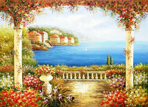 Mediterranean Terrace- #15,  36x48 100% Hand painted Oil Painting on Canvas