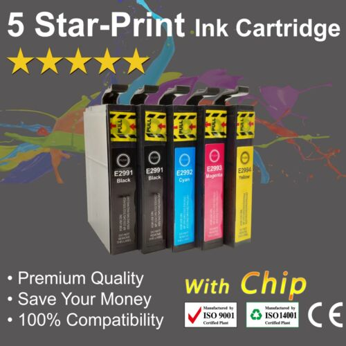 5 Ink Cartridges for Epson 29XL XP235 XP245 XP335 XP432 XP435 XP442 with chips
