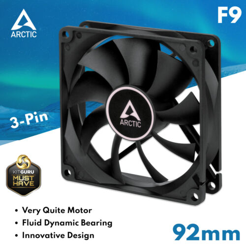 92mm PC Case Fan Cooling Computer Cooler Silent Quiet White 3-Pin Arctic Cooling