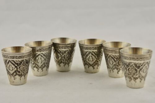 Antique Middle Eastern / Asian Sterling Silver 925 etched 6x alcohol shot cups