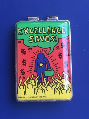 """Keith Haring: original money clip """"EXCELLENCE SAVES"""", ACME, 1995, new; free ship"""