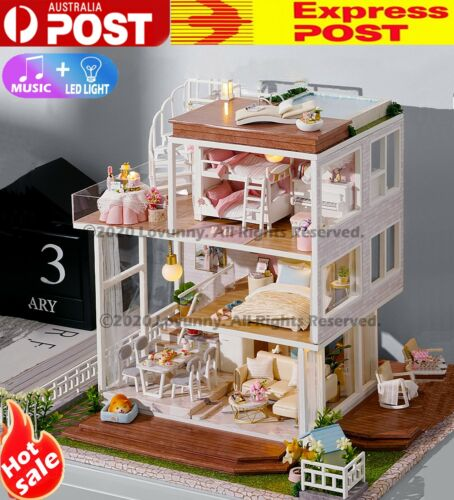 AU DIY LED Music Sweet Home Dollhouse Miniature Wooden Furniture Kit Doll House <br/> ⭐⭐⭐⭐⭐Sydney Stock🔥Fast Dispatch🔥Music+LED🔥Great Gift