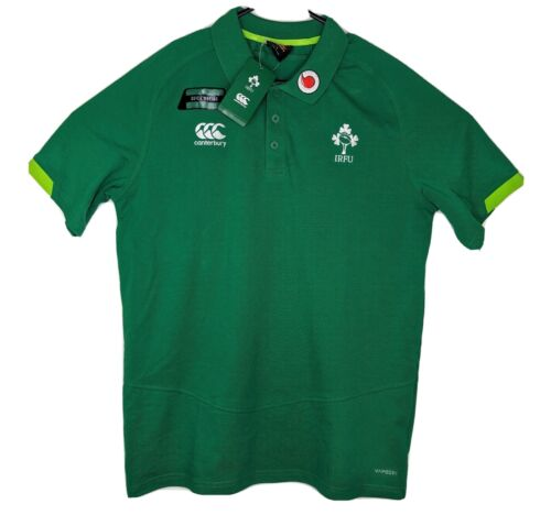Canterbury Mens Large Green Polo Shirt IRFU Ireland Jersey Top Short Sleeve New