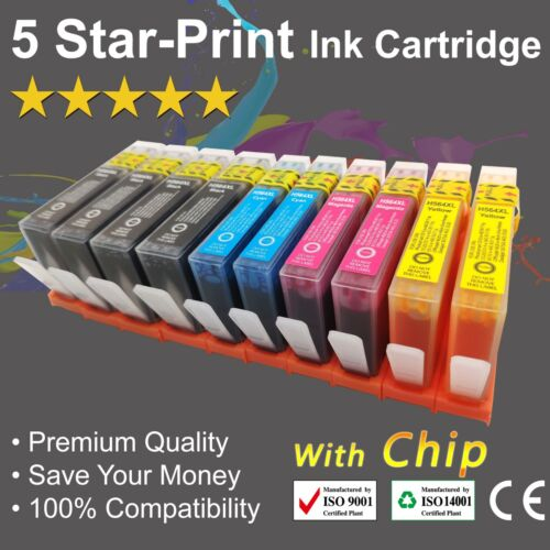 10 Ink Cartridges for HP 564XL Photosmart 3070/5510/5520/ 6510/ 6520/ 7510/ 7520