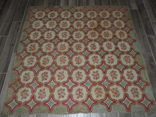 6x6ft. Antique American Hooked Wool Rug