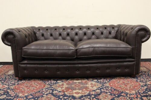 Divano originale Chesterfield / Chester /pelle marrone scuro /dark brown leather