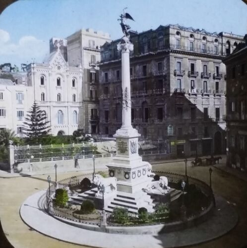 Monument in a Plaza in Italy, PARTIAL LABEL, Magic Lantern Glass Slide