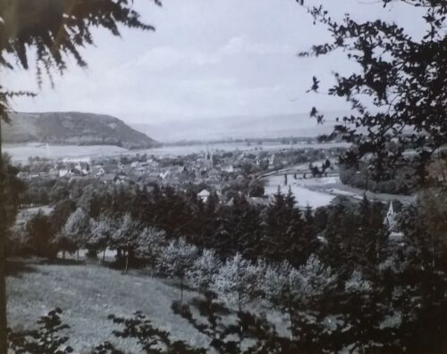 View from the City Park in Höxter, Germany, Magic Lantern Glass Slide