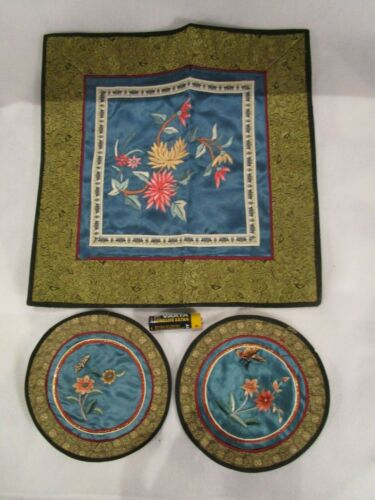 Chinese Silk Embroidered Set of 3 Vintage Doilies Flower & Butterfly Motifs