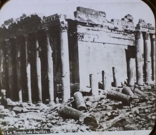 Ruins of Temple of Jupiter, Syria, Antique Magic Lantern Glass Photo Slide