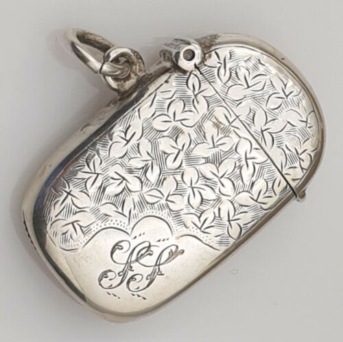 Antique Vesta Sterling Silver Birmingham 1901 Solid English UK Matchsafe Gilt