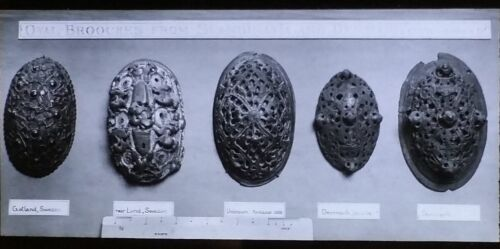 """""""Five Oval Brooches from Scandinavia and Denmark"""", Magic Lantern Glass Slide"""