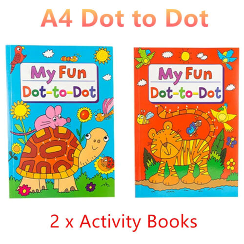 2 x A4 Kids Dot to Dot Activity Book Teaching Number Drawing Connect Line Game