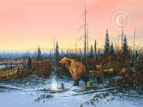 """""""Grizzly Bears in Camp"""" By John Paul Strain - Signed Artist's Proof Paper Giclée"""