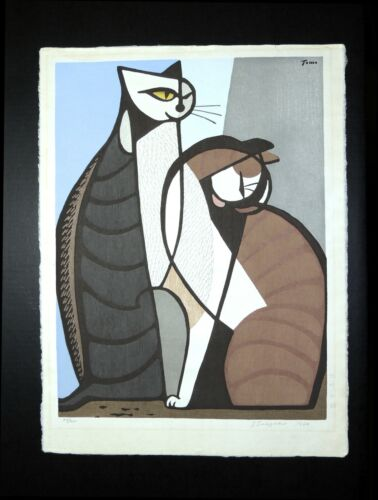 """Japanese Woodblock by Tomoo Inagaki """"Two Cats"""" - Signed Limited Edition"""