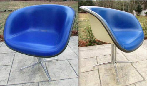 EAMES LA FONDA CHAIR Alexander Girard HERMAN MILLER Blue on Parchment SHELL ONLY