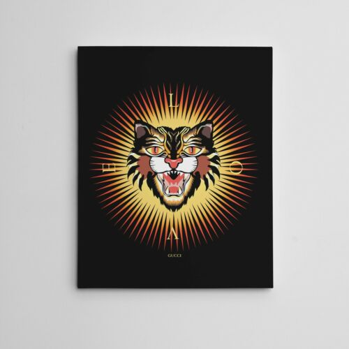 """16x20"""" Gallery Art Canvas- Love Gucci Angry Lion Cat GG Supreme Luxury Artwork"""