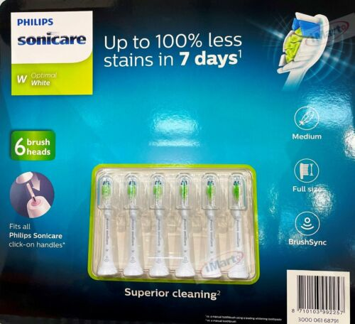6x Genuine Philips Sonicare Optimal White Electric Toothbrush Replacement Heads