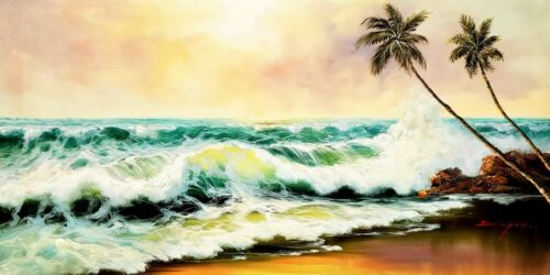 Ocean Wave - # 13,   24x48  100% Hand Painted Oil Painting on Canvas