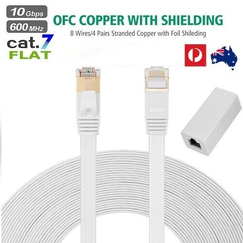 1~20M CAT7 RJ45 Flat Network Cable Shielded Grounding with Couplers & Clips LOT