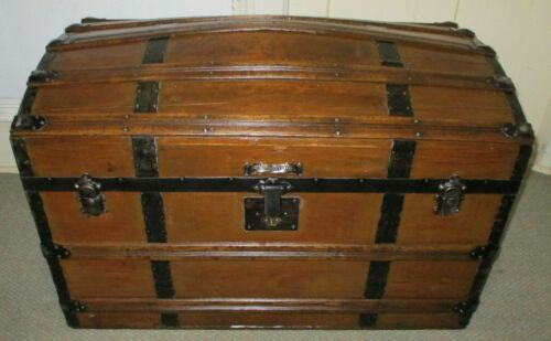 ANTIQUE STEAMER TRUNK VINTAGE VICTORIAN CLASSIC ROUND TOP WOODEN CHEST TRAY&KEY