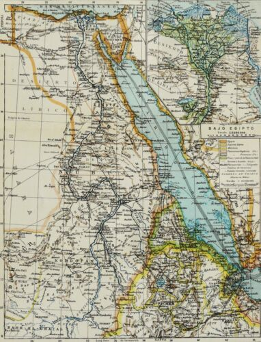 1900 Antique map of EGYPT, SUDAN, ERITREA. 120 years old chart.