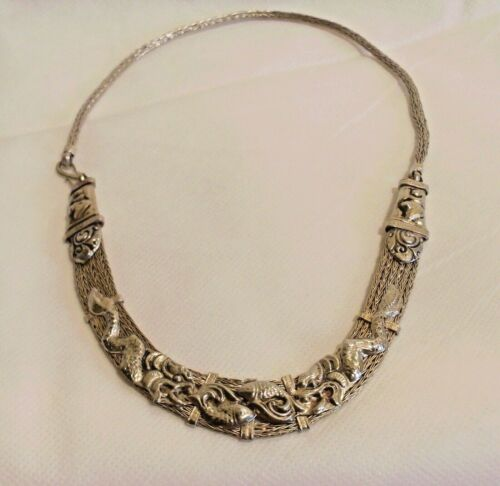 Antique Chinese Dragon & Fish Silver Mesh Necklace
