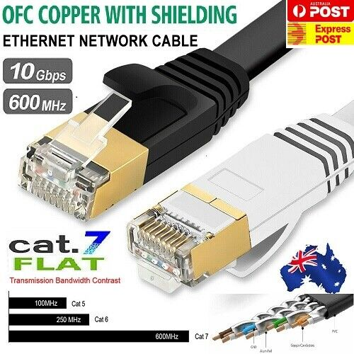 CAT7 Shielded Flat Network Cable 0.5~20M Black & White with Cable Clips Lot