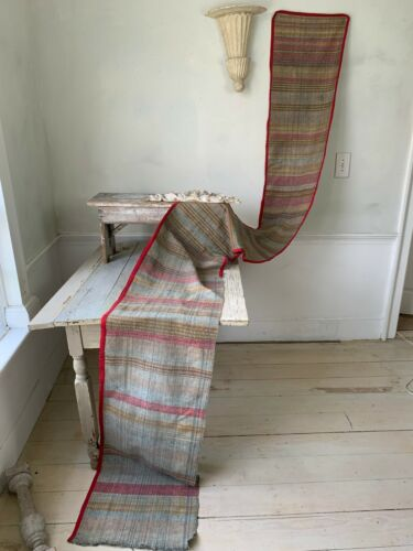 Antique French table runner hand woven rug fabric Farm table runner