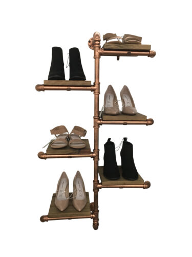 Vertical Wall Mounted Pipe Rack Shelving Unit - Bronze