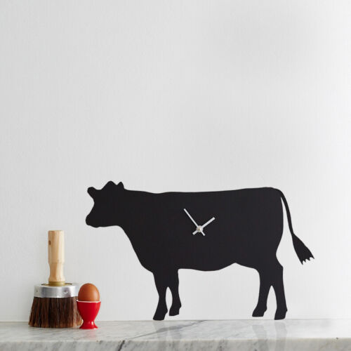 Black Cow With Waggy Tail Battery Operated Wall Clock