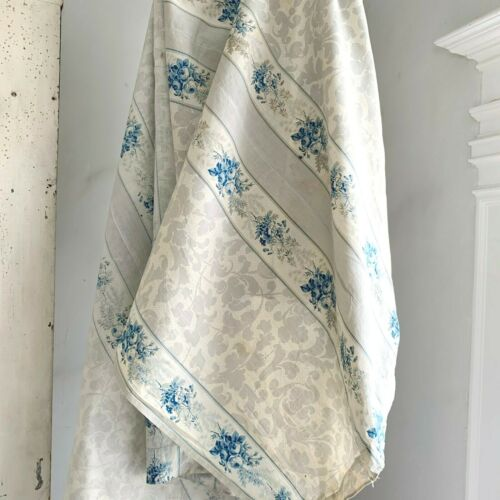 1850 printed cotton chintz French fabric floral stripe design glazed  blue GRAY