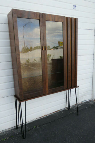 Brutalist Mid Century Modern Display China Cabinet with Hairpin Legs 1255
