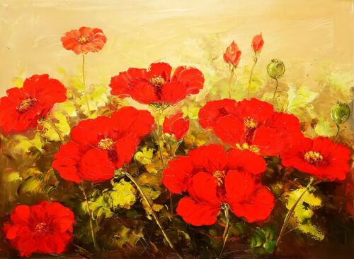 Red Poppies - #5, 36x48, 100% Hand Painted Oil Painting on Canvas