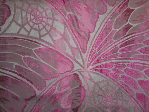 Antique French Art Deco Satin Brocade Fabric Curtain ~ Butterfly Web ~ Magenta
