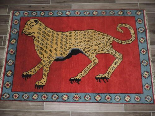4x6ft. Handmade Collectible Indo Lion Design Wool Rug