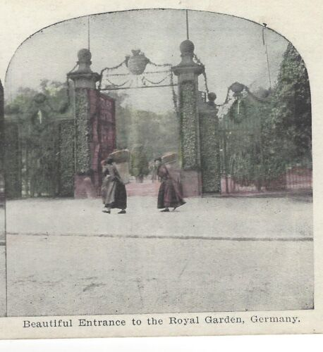 Beautiful Entrance to the Royal Garden in Germany Original Rare Stereoview Card