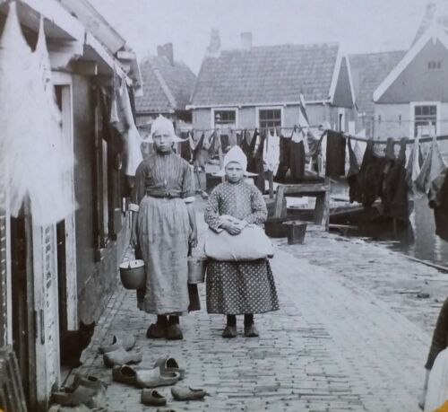 In the Land of Wooden Shoes, Holland,Circa 1910 Photo, Magic Lantern Glass Slide