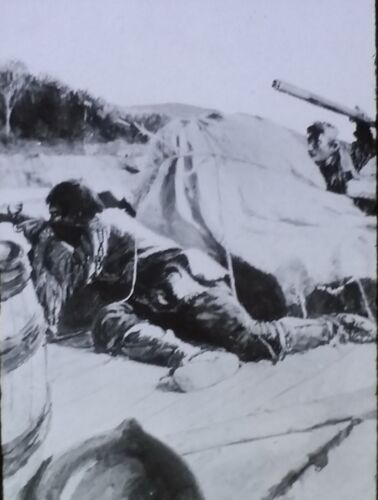 Indian Attack Down the Ohio, Magic Lantern Glass Slide, from Arthurs Painting