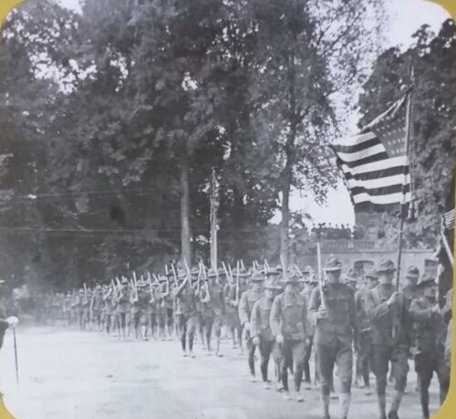 World War One, General Gourand Reviewing Troops, Magic Lantern Glass Photo Slide