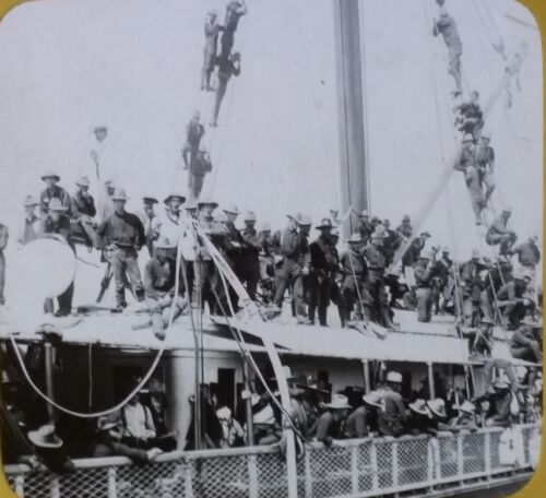 "The Yucatan Carrying ""Rough Riders"" to Cuba, Old Magic Lantern Glass Photo Slide"
