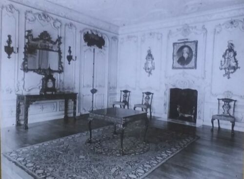 Chippendale Room from Woodcote Park, Surrey, England, Magic Lantern Glass Slide