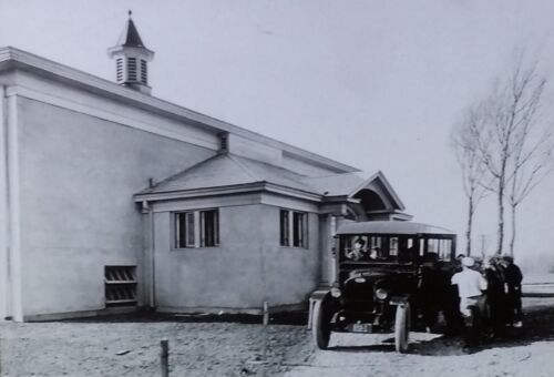 Vintage Automobile at a Rural Consolidated School, Magic Lantern Glass Slide