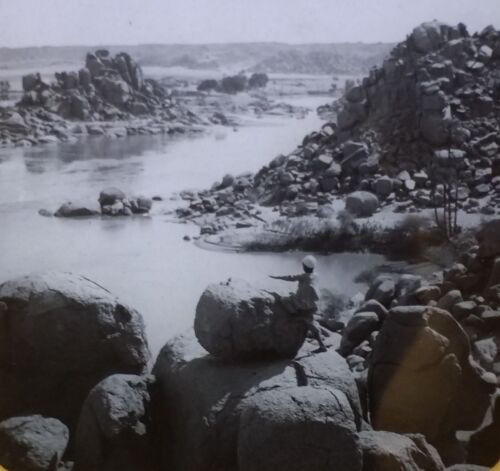 Low Water at a Cataract in the Nile, Egypt, Magic Lantern Glass Photo Slide
