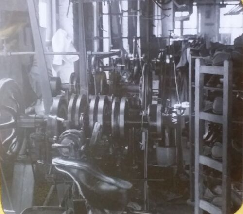 A Shoe Factory in New England, Vintage Magic Lantern Glass Photo Slide