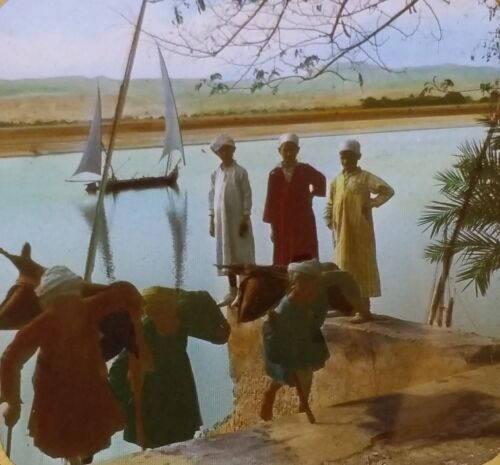 Bringing Water from the Nile, Egypt, Magic Lantern Glass Slide