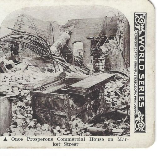 Ruins Commercial House on Market Street 1906 San Francisco Earthquake Stereoview