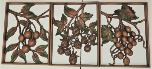 3 Vint SYROCO Fruit GRAPE CHERRY & BERRIES Mid Century Modern WALL PLAQUES